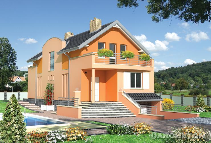 Projekt domu Traszka - średniej wielkości dom z garażem w piwnicy