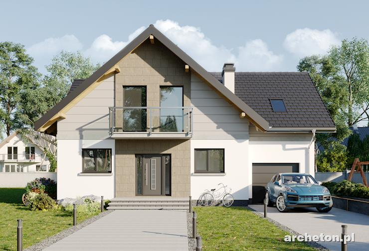 Projekt domu Tryfon - dom z wejściem od ściany szczytowej, z garażem