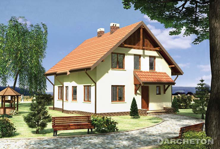 Projekt domu Trzmiel - średniej wielkości dom z dwiema garderobami na poddaszu