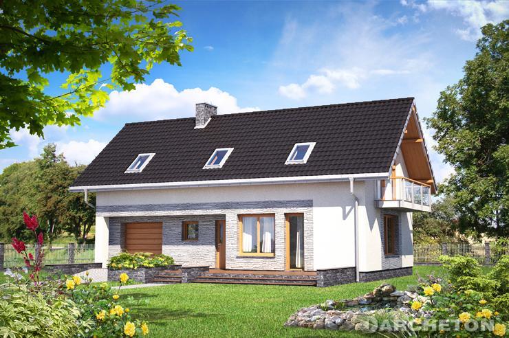 Projekt domu Tulio - nieduży domek z elewacją z kamienia elewacyjnego
