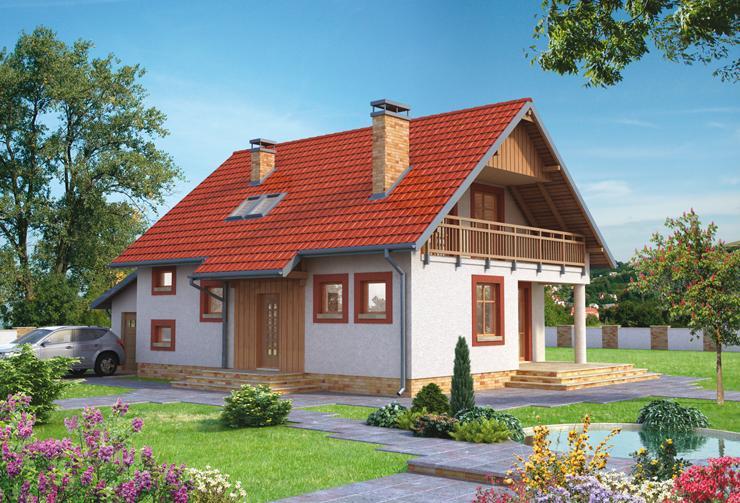 Projekt domu Turkawka - prosty dom, z zadaszoną loggią, pokryty dachem dwuspadowym