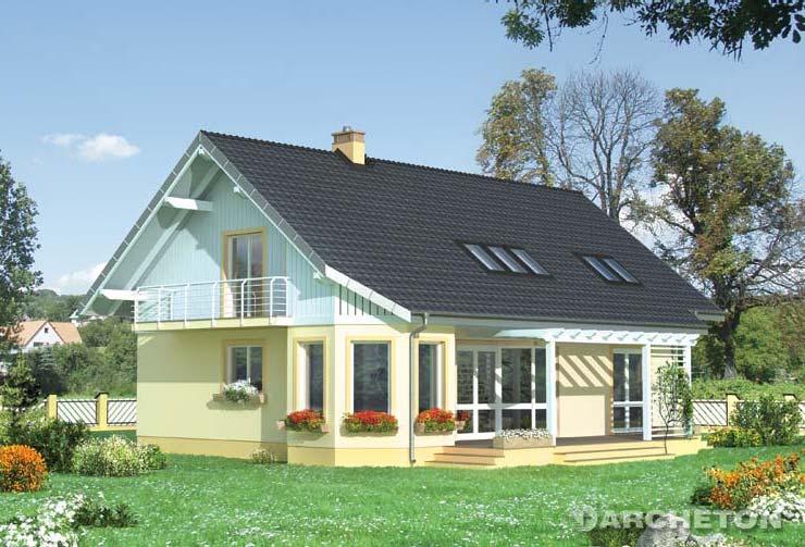 Projekt domu Turmalin - dom z dużą sypialnią z własną łazienką na parterze