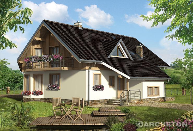Projekt domu Turmalin Feluś - dom z dużą sypialnią na parterze i poddaszu