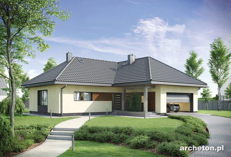Projekt domu Tymon - atrakcyjny dom parterowy, na planie litery T, z garażem na dwa samochody