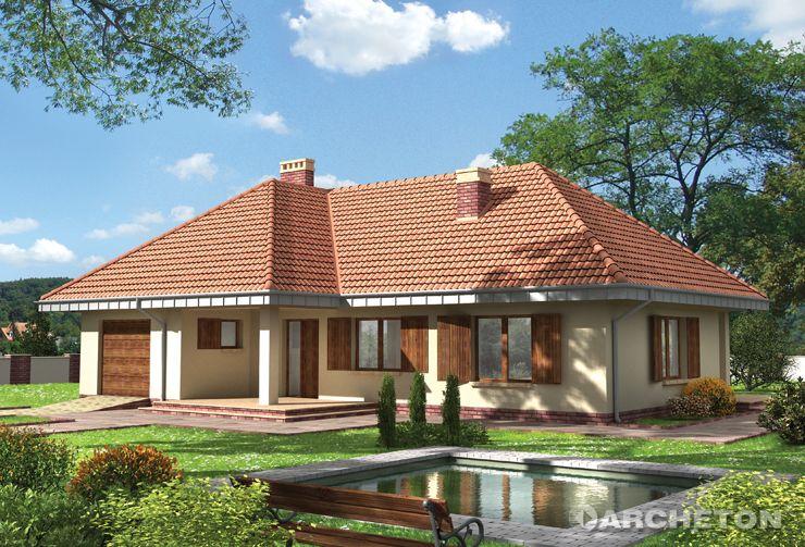 Projekt domu Tymoteusz - dom parterowy z przestronnym pokojem dziennym