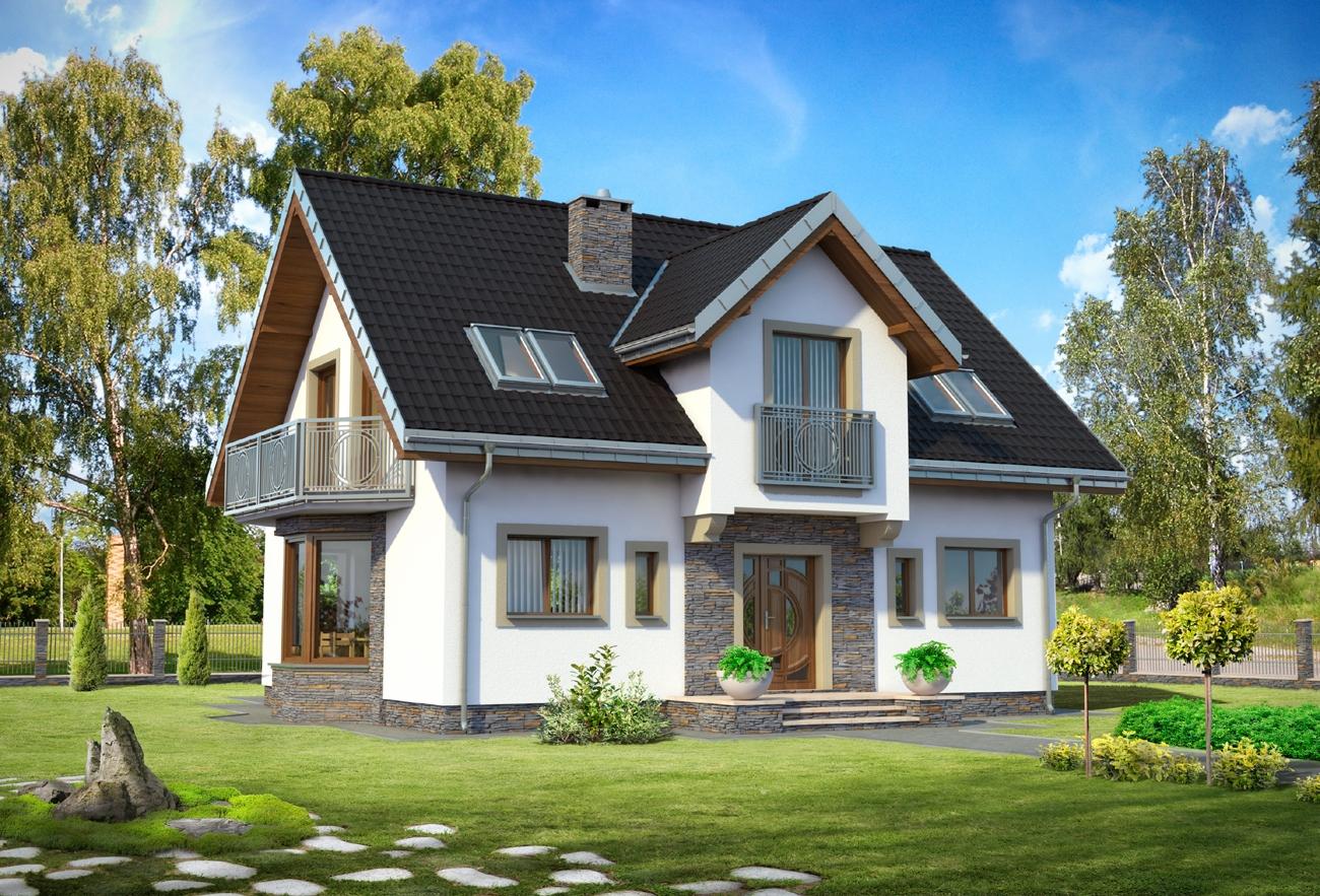 A-248-1p проект загородного дома с гостиной с камином.