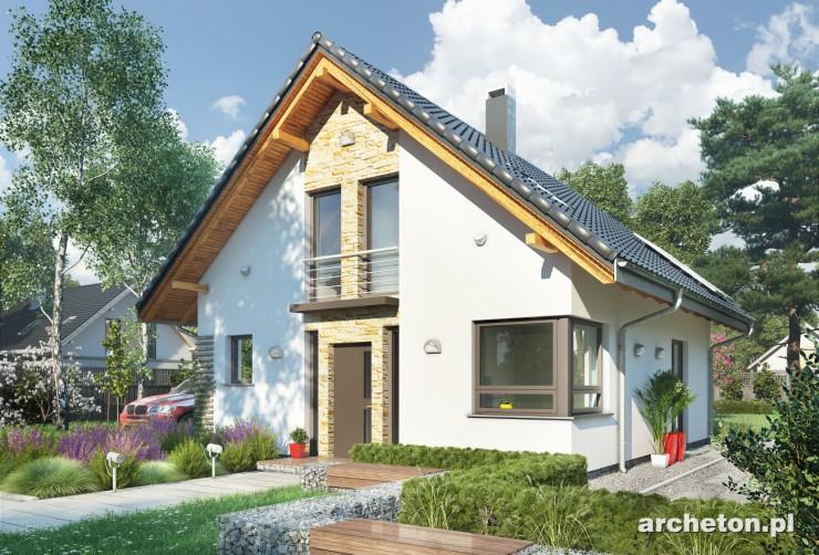 Projekt domu Ula - niewielki dom z dużym przeszkleniem pokoju dziennego
