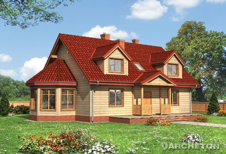 Projekt domu Urszula - drewniany dom z dużym otwartym salonem