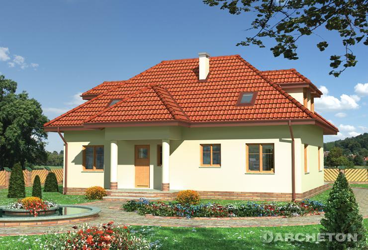 Projekt domu Ustronie - dom z użytkowym poddaszem, z dużym przeszkleniem klatki schodowej