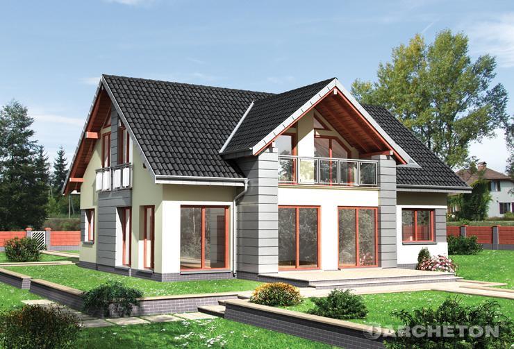 Projekt domu Vilmar - dom z dużą powierzchnią przeszkleń, wzbogacony balkonami oraz portfenetrami