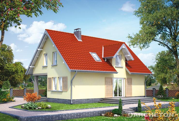 Projekt domu Wacek - niewielki domek z malowniczymi okiennicami