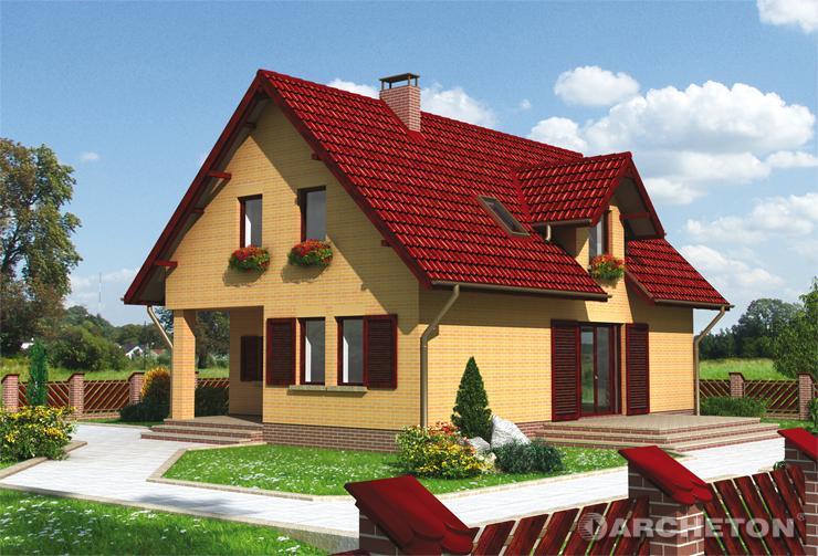 Projekt domu Wacek - malowniczy dom z niewielką lukarną nad wejściem