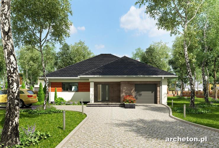 Projekt domu Walery - dom parterowy, pokryty dachem czterospadowym, z garażem
