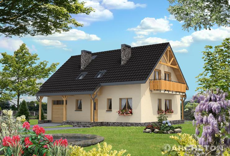 Projekt domu Ważka - dwukondygnacyjny dom nakryty dachem dwuspadowym