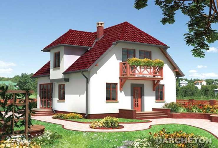 Projekt domu Wega - dom z charakterystycznymi wykuszami i ogrodem zimowym
