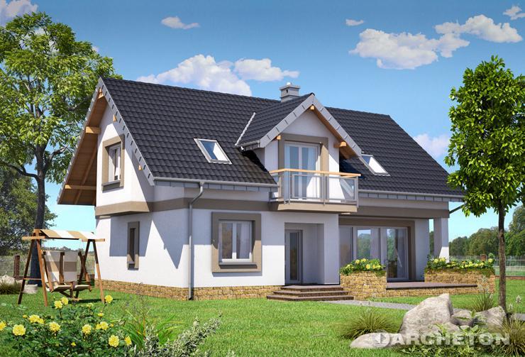 Projekt domu Widokówka - niewielki dom z przeszklonym pokojem dziennym