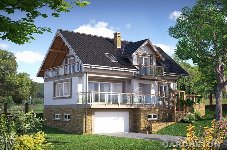 Projekt domu Widokówka Stok - dom idealny na działkę ze spadkiem terenu