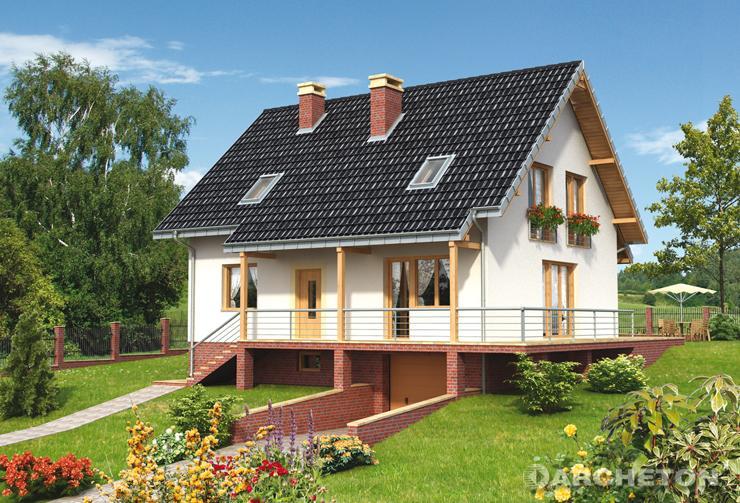 Projekt domu Wiki Stok - dom całkowicie podpiwniczony na działkę ze spadkiem terenu