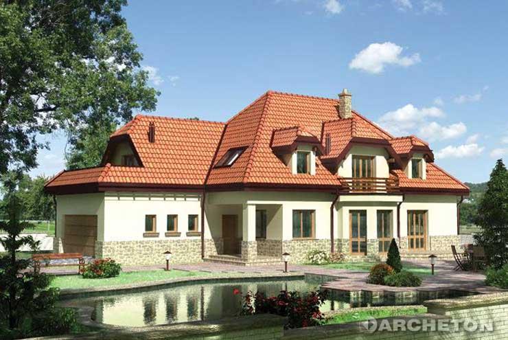 Projekt domu Wiktor - duży dom z czterema garderobami na poddaszu