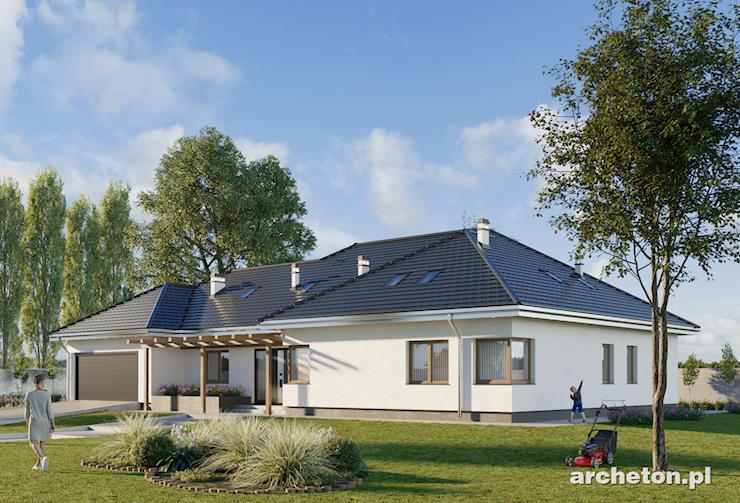 Projekt domu Willa Marynin - duży dom z obszernym salonem i garażem na 2 samochody