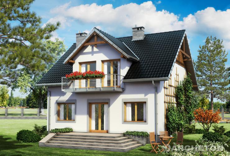 Projekt domu Winnik - dom z użytkowym poddaszem, z balkonem nad wejściem i nad tarasem
