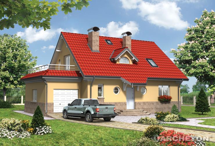 Projekt domu Wisienka - średniej wielkości dom z tarasem nad garażem
