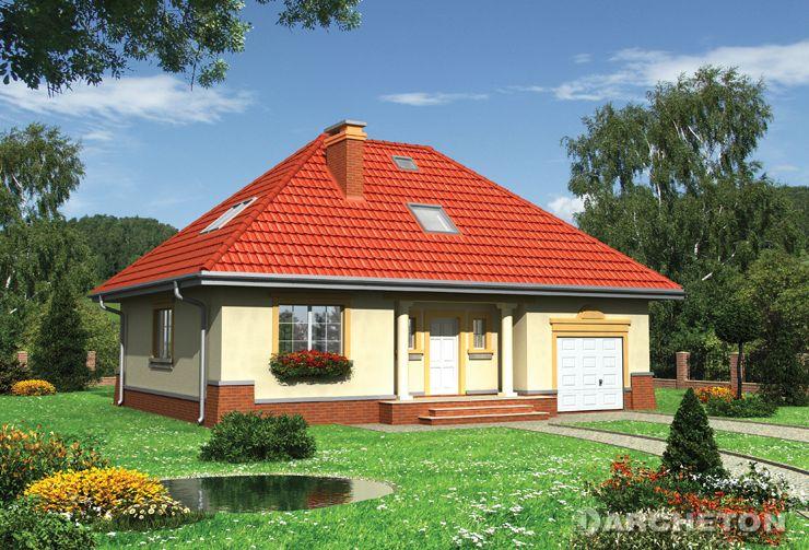 Projekt domu Wiślan Lux - dom z dużym otwartym holem połączonym z pokojem dziennym