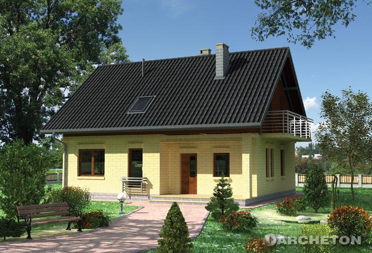 Projekt domu Witlinek - domek z drewnianymi schodami na konstrukcji stalowej