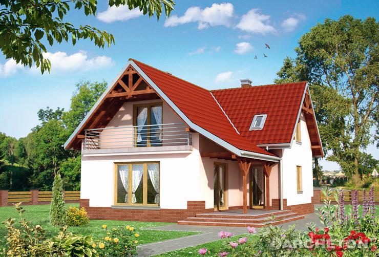 Projekt domu Witold - dom na rzucie krzyża z dachem dwuspadowym