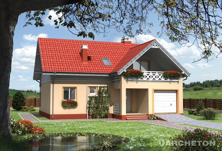 Projekt domu Wodnik Mały - nieduży dom z wysuniętym garażem i podcieniem wejścia