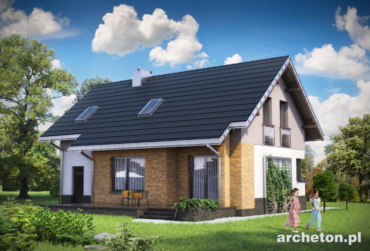 Projekt domu Wodnik Mały - idealny dom dla 5 osobowej rodziny, z zadaszonym balkonem nad wejściem