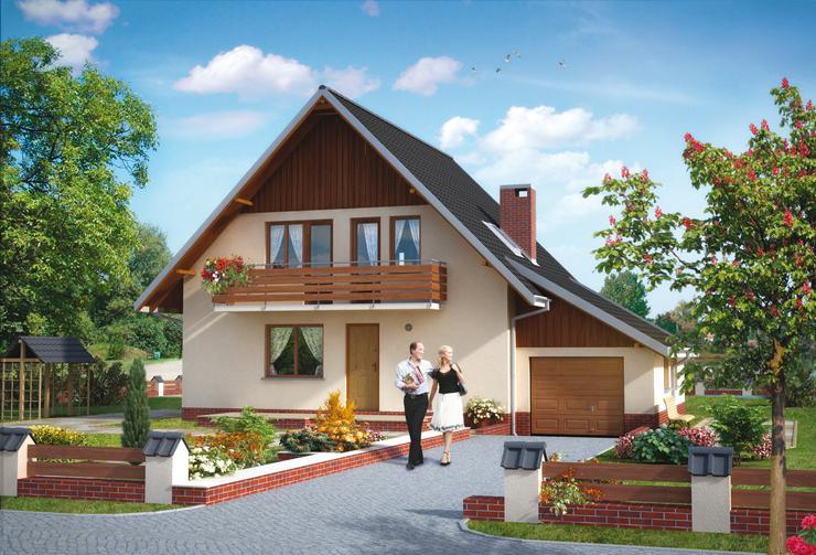 Projekt domu Wrzos - dom z dostawionym garażem z wejściem od ściany szczytowej