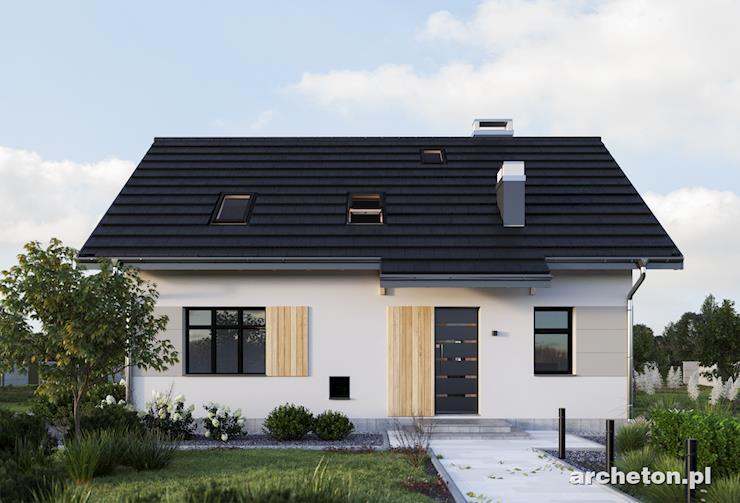 Projekt domu Zachary - niewielki dom z kuchnią i pokojem dziennym od strony ogrodu