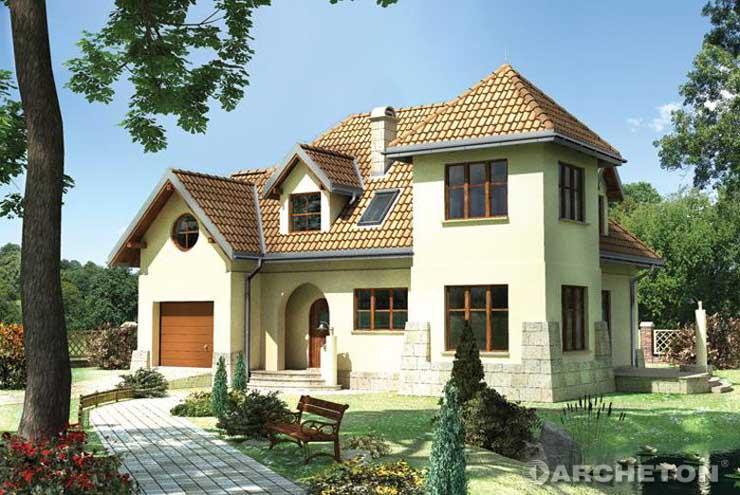 Projekt domu Zadora - dom z wysunięta wieżą nakrytą czterospadowym dachem
