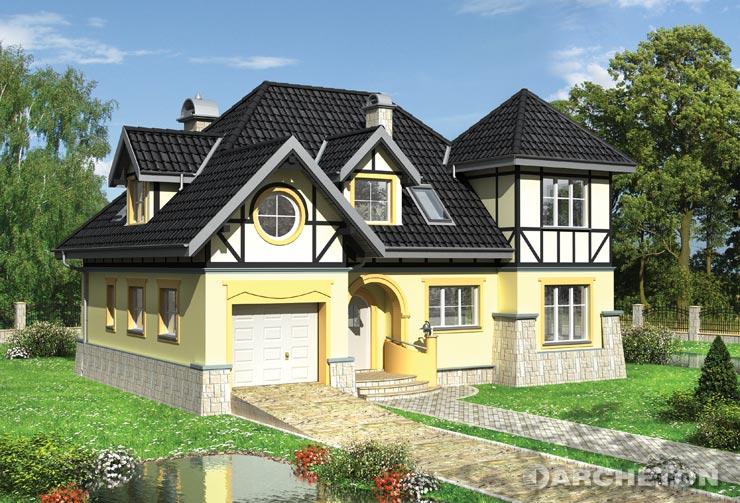 Projekt domu Zadora Lux - dom z wieżą i garażem wysuniętymi do frontu