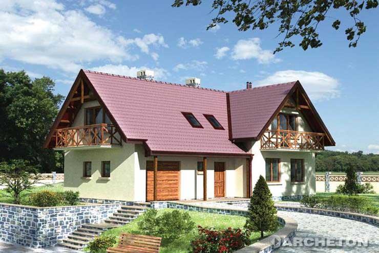 Projekt domu Zakątek - dom w kształcie litery T z dużym przestronnym pokojem dziennym