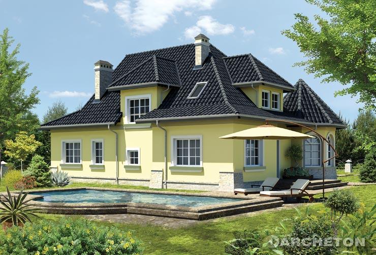 Projekt domu Zameczek Lux - malowniczy dom z jadalnią w kształcie wieży