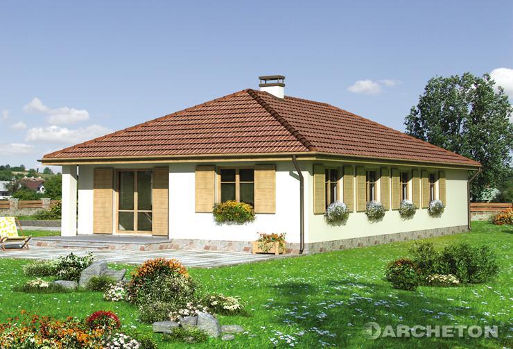 Projekt domu Zawilec - dom z garażem i wiatą garażową dostępnymi z poziomu terenu
