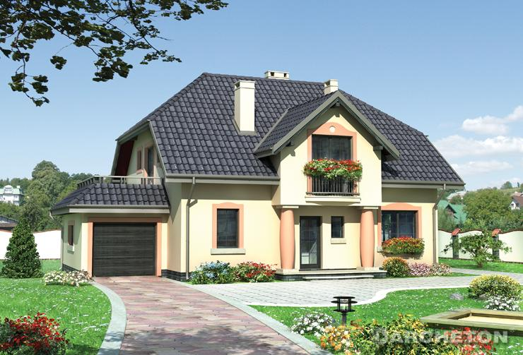 Projekt domu Zdrój - dom z dostawionym garażem, którego strop stanowi taras