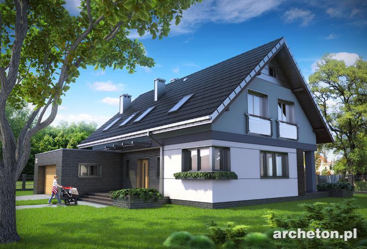 Projekt domu Zenon - dwuspadowy dach nad częścią mieszkalną i kostka strefy gospodarczej