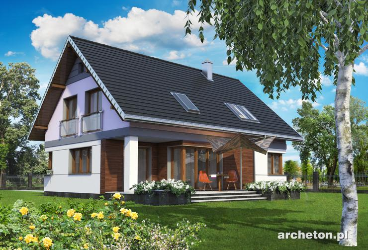 Projekt domu Zenon Atu - dom o ciekawej bryle, z wysuniętym garażem dwustanowiskowym