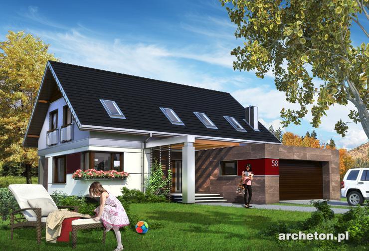 Projekt domu Zenon Rex - atrakcyjny dom z wysuniętym od frontu garażem i z zacienionym wejściem