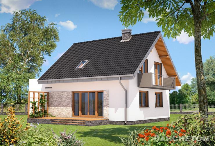 Projekt domu Zeta - mały domek wykończony kamieniem elewaycjnym
