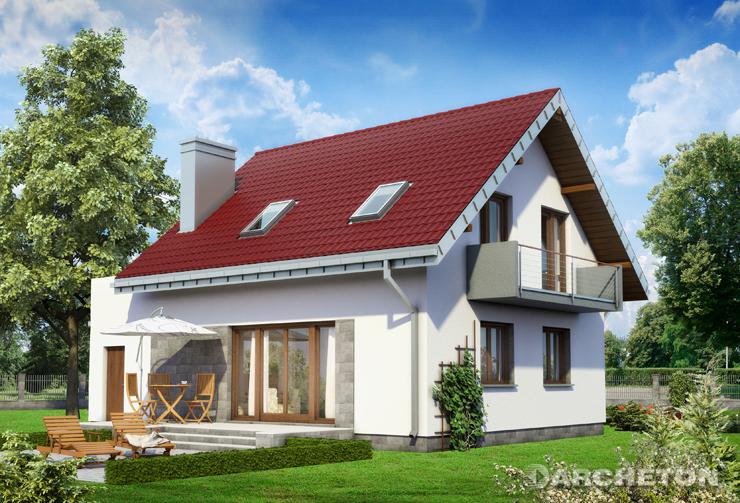 Projekt domu Zeta Karbo - dom z tarasem nad garażem i z nowoczesnym daszkiem nad wejściem