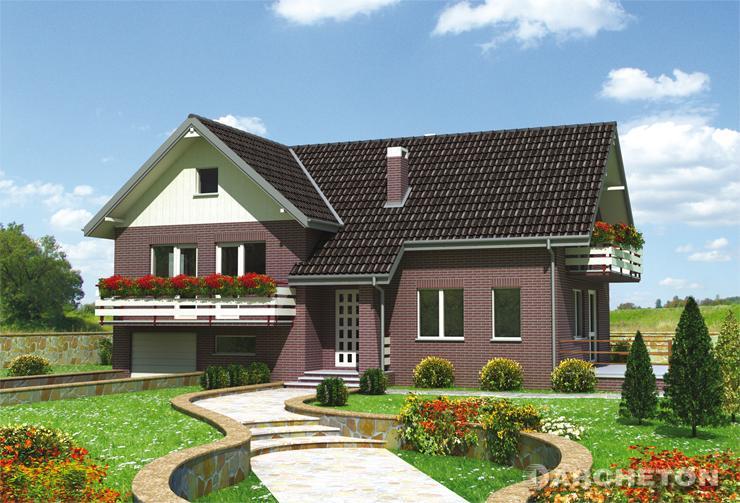 Projekt domu Zgoda - dom w kształcie litery T o ciekawej elewacji z tynku szlachetnego