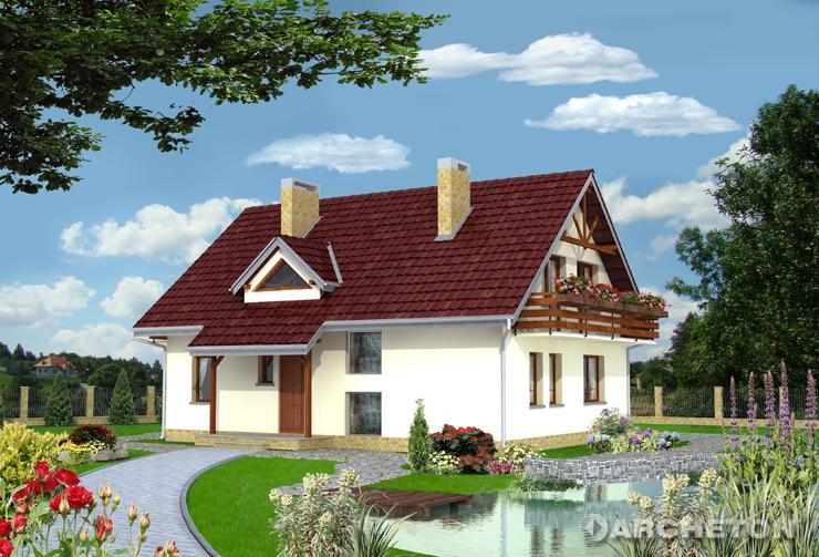 Projekt domu Zięba - prosty dom z wysuniętym fragmentem pokoju dziennego