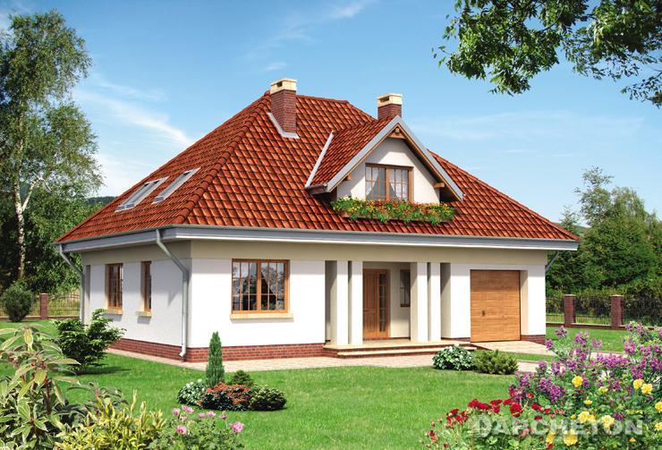 Projekt domu Złotokap - dom nakryty dachem czterospadowym, wzbogacony podcieniem wejścia