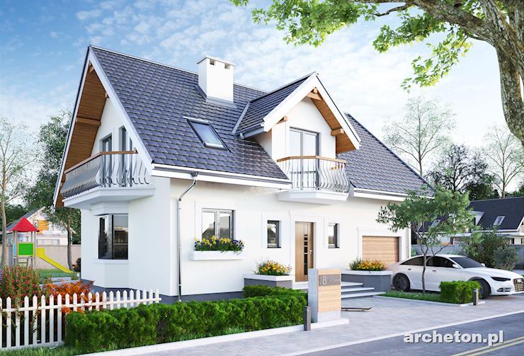 Projekt domu Zofia Mini - nieduży dom z balkonem nad wejściem