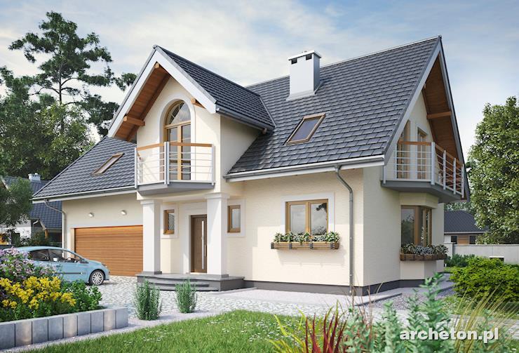 Projekt domu Zofia Portyk G2 - duży dom z trzema łazienkami i garażem na dwa samochody