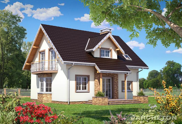 Projekt domu Zofia Prima - dom z elewacją częściowo pokrytą kamieniem elewacyjnym